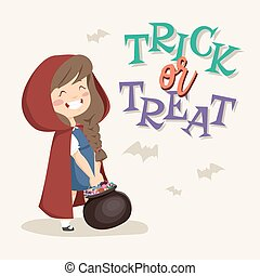 Trick or Treat kids. Vector Illustration.