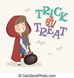 Trick or Treat kids. Vector Illustration.