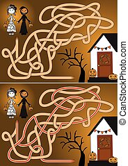 Trick or treat maze for kids with a solution