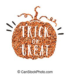 Trick or treat. Pumpkin glitter silhouette