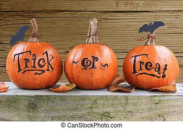 Trick or treat pumpkins - Three small trick or treat ...