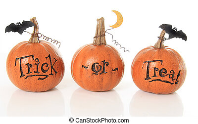 Trick or treat pumpkins - Three small trick or treat ...