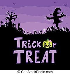 Trick Or Treat Scarecrow Cemetery - Halloween theme purple...