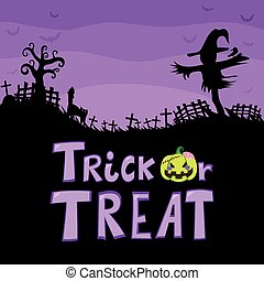 Trick Or Treat Scarecrow Cemetery - Halloween theme purple...