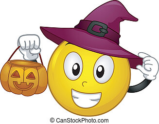 Trick or Treat Smiley - Illustration of a Smiley Dressed in...