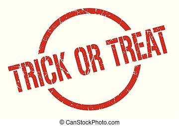 trick or treat stamp - trick or treat red round stamp