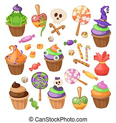 Trick or Treat. Traditional sweets and candies for holiday Halloween. Halloween candies isolated on white background. Retro cartoon style vector illustration.