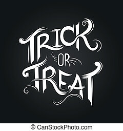 Trick or Treat Halloween poster design with hand drawn elements.