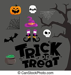 Trick or treat vector elements collection