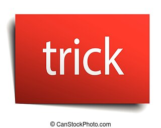 trick red paper sign on white background