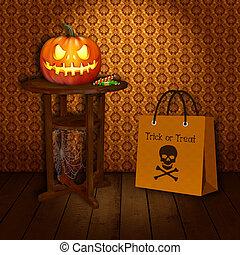 Trick &Treat Halloween Illustration