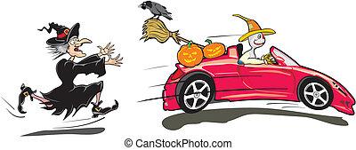trick, verarbeitung, halloween, -, oder