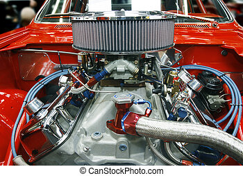 Highly customized car engine in a rebuilt muscle car - all copyright materials removed