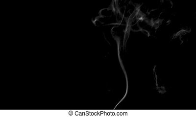 White steam rises light on black background. - Trickle of...