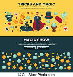 Tricks and magic show promotional Internet posters set