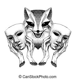 Trickster. Sly fox smiles. Fox with two masks in his hands. ...
