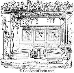 triclinium, casa, engraving., sallust, vendemmia