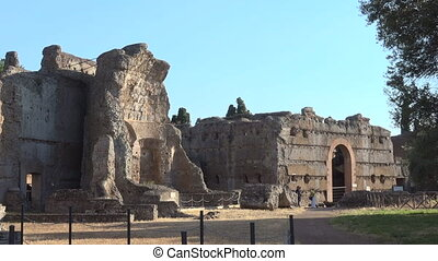 Triclinium ruins in archeological site, Hadrian's Villa Rome Tivoli