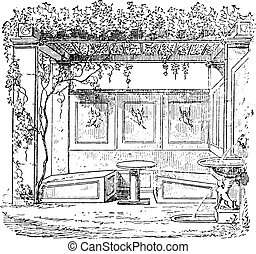 Triclinium the house of Sallust, vintage engraving.