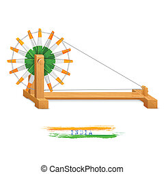 Tricolor Charkha (Spinning Wheel) - illustration of tricolor...