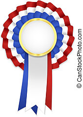 Tricolor rosette with blue, white and red ribbon and golden...