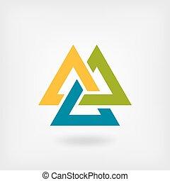 tricolor, symbol., valknut, interlocked, trianglar
