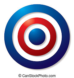 tricolor target in red white and blue with shadow effect