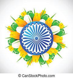 Tricolor Tulip with Ashok Wheel