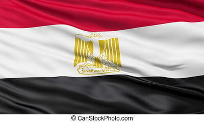 Tricolor waving Flag of Egypt with the national emblem Eagle of Saladin