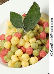 Tricolour gnocchi with sage