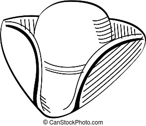 Tricorn Colonial or minuteman or minutemen hat patriotic clip art perfect for the 4th of July or Independence Day.