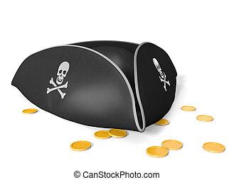 Tricorn pirate hat and treasure