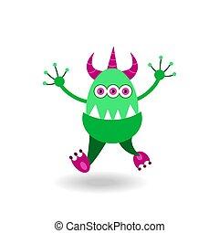 tricorn, verde, cartone animato, allegro, mostro