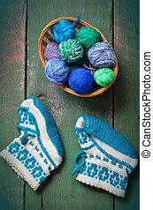 tricoté, bébé, chaussettes