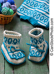 tricoté, bébé, fait main, chaussettes