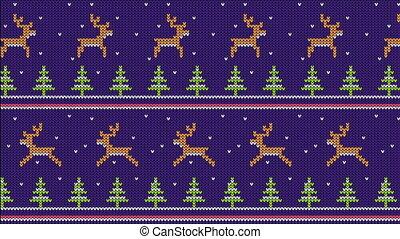 tricoté, cerf, modèle, courant, arbres, chandail, noël