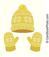 tricoté, chapeau, gants, hiver, jaune
