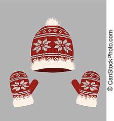 tricoté, chapeau, gants, hiver, rouges