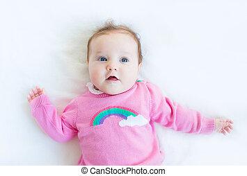 tricoté, doux, chandail, girl, bébé