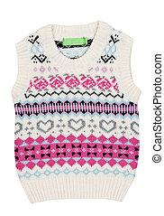 tricoté, enfants, gilet