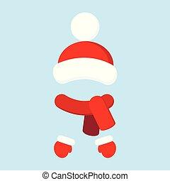 tricoté, hiver, pompom, couleur, mitaines, clothes., traditionnel, ensemble, chaud, chapeau rouge, écharpe