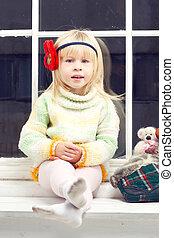 tricoté, peu, fenêtre, chandail, girl