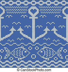 tricoté, seamless, modèle, poissons