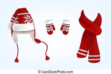 tricoté, vecteur, chapeau, santa, mitaines, écharpe, 3d