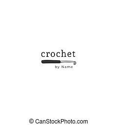 tricot, gabarit, fait main, theme., main, vecteur, crochet., dessiné, logo