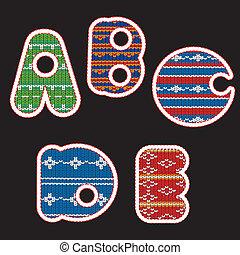 tricotado, alfabeto, -, abcde
