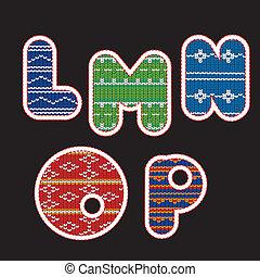 tricotado, alfabeto, -, letras, lmnop