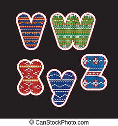 tricotado, alfabeto, -, letras, vwxyz