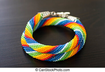 tricotado, arco íris, contas, cores, colar