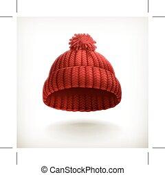 tricotado, boné, vermelho
